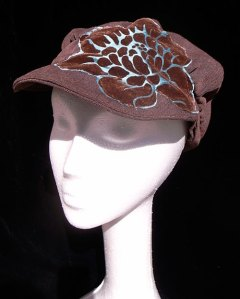 BROWN-&-blue-flower-hat